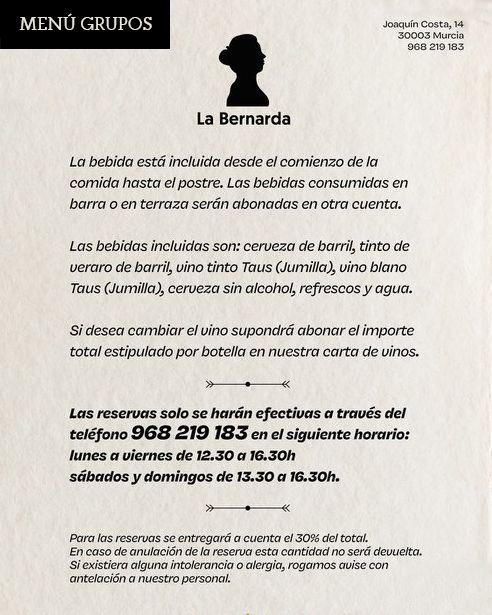 Menú Grupos 2020 La Bernarda